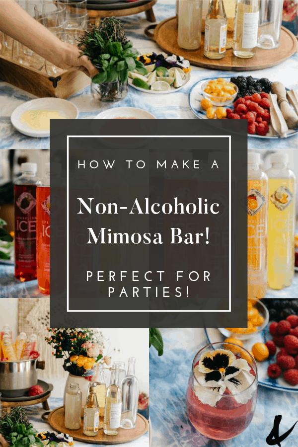 party beverage bar idea with virgin mimosas