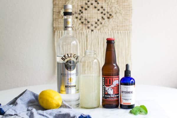 Ingredients for a lemonade Moscow Mule.