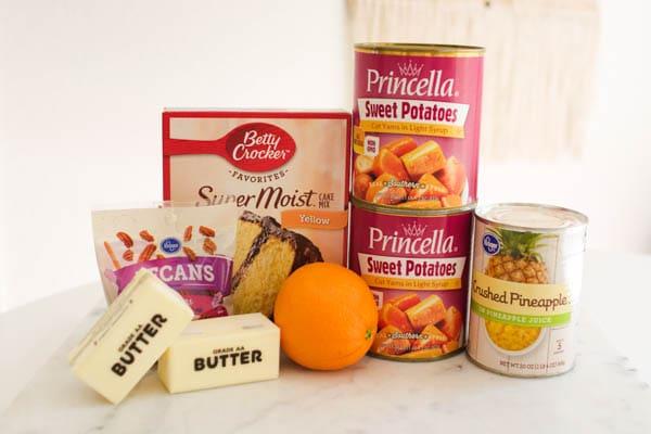 ingredients for sweet potato dump cake