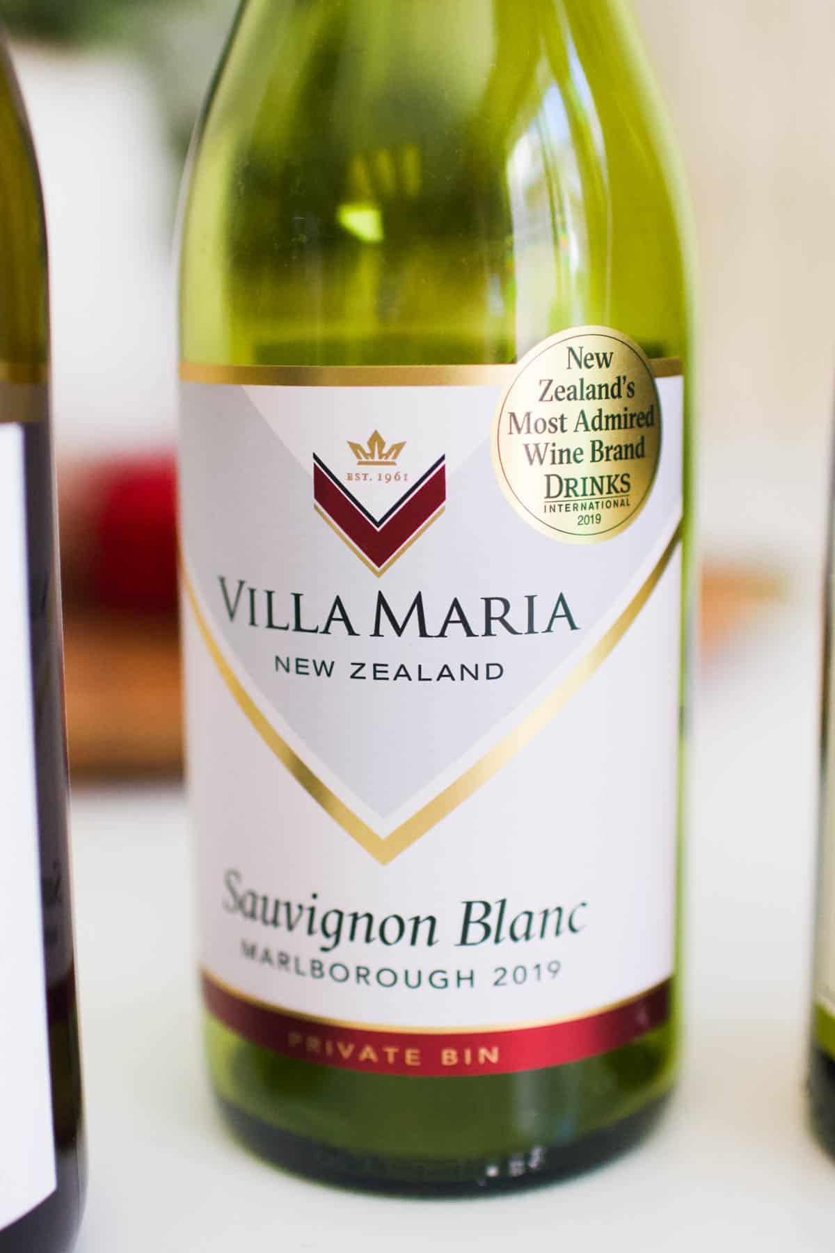 Close up of a bottle of Villa Maria Sauvignon Blanc.